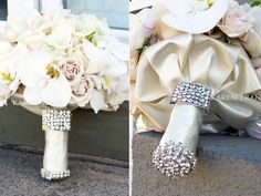 Bridal bouquet wrap with crystal brooch and strands. The bling is what catches my eye with this bouquet.