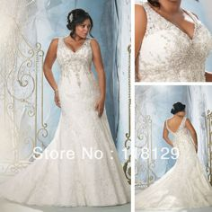 2013 Essence V neck Applique and Beaded Floor length Lace Mermaid Plus size Wedding Dresses 3148-in Wedding Dresses from Apparel  Accessories on Aliexpress.com $245.00