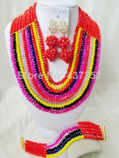 Fashion Red and Multistrands Crystal Costume Necklaces Nigerian Wedding African Beads Jewelry Sets NC408 $58.32