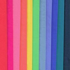 Liberty Fabric Plain Tana Lawn 9 Fat Quarters Rainbow Selection - Alice Caroline - Liberty fabric, patterns, kits and more - Liberty of London fabric online Liberty Of London Fabric, Liberty Fabric, Liberty Quilt, Lawn Fabric, Fabric Online, Fat Quarters, The Selection, Rainbow, Kit