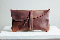 el bolso de embrague de hustler marrón / / lleno-grano marrón