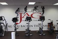Machines below the JAG wall logo