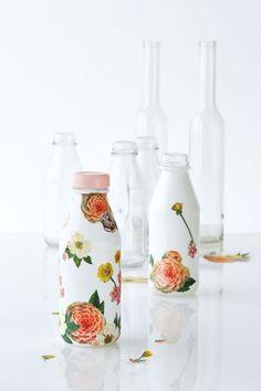 Pretty DIY Rose Decoupaged Bottles