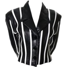 Preowned Michael Hoban North Beach Leather Vintage Cropped Striped... ($625) ❤ liked on Polyvore featuring outerwear, jackets, white, white and black jacket, vintage jackets, black and white striped jacket, white cropped jackets and white leather jacket