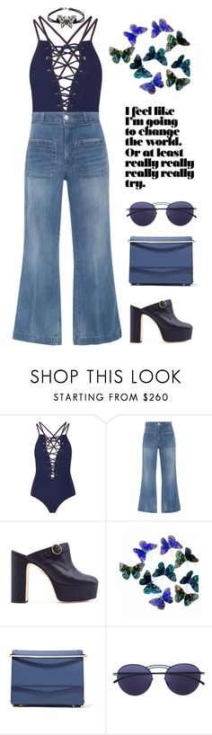 """Cropped Jeans"" by marialibra ❤ liked on Polyvore featuring Jonathan Simkhai, AMO, AlexaChung, Eddie Borgo and Mykita"