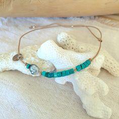 Bracelet tubes turquoise perle de Tahiti Keshi bebycat
