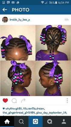 Little black girl braids purple beads hairstyle cornrow ponytail