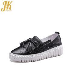 J&K 2017 Brand Women's Vulcanize Shoes Cow Genuine Leather Comfort Women Shoes Platform Bowtie Spring Flat Casual Shoes Woman