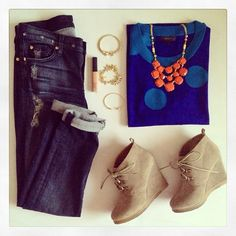 Love the orange and blue. Olivia Bib Necklace $118, Renegade Bracelet $59 and Gilded Arrow Bangle $39 and Chimera animal bangle $59 from @Stella & Dot.