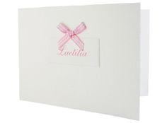 Geboortekaartje met strikje-birth announcement- pink-roze geruit-geboortekaartenonline.nl