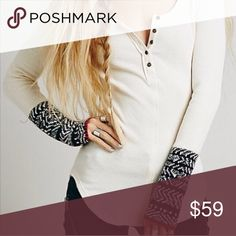 Free People White Alpine Cuff Thermal Free People Alpine Cuff Thermal in Small White, very cute on, cuffed in black and rimmed in red Free People Tops Tees - Long Sleeve