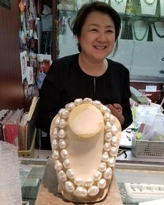 """I so happily introduce our pearl threader in NYC, Pearl!! Pearl is the best and is the most wonderful threader! We thank you Pearl for helping to spread Margot McKinney pearl luster far and wide. Here, Pearl has just finished threading two of the most important Australian baroque south sea pearl necklaces ever put together. """"Maxima"""" and """"Princess Maxima"""" took years to collect and are the finest quality - a true joy and family heirloom. #pearls #pearl #pearlnecklace #margotmckinneyjewellery…"""