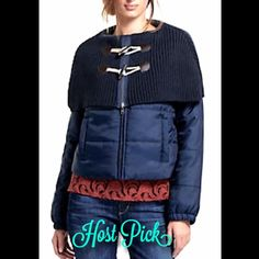 "Anthropologie navy Toggled Cape Puffer Jacket S Anthropologie / Daughters of the Liberation navy blue ""Toggled Cape Puffer Jacket"" beautiful navy blue thick soft & cozy Puffer jacket with a big ribbed knit collar / cape that glazes the shoulder faux brown leather & tan rope double toggle closure on cape * zipper closure   Front pockets New With Tags  *  Size: Small retail price:  $198.00       Polyester      Dry clean   18"" under arm to arm (36"" around) 15"" from shoulder to shoulder in back…"