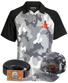 One of the many golf outfits found at tattoogolf.com.  This one features Camo golf shirt,  hat, belt/buckle combo.  #golf