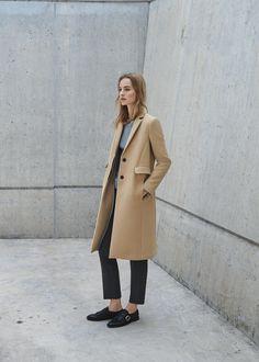 Manteau droit poches