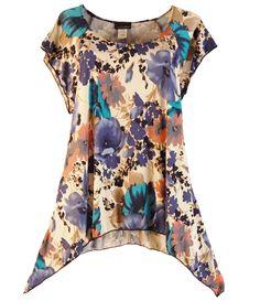 6340a2c8d2d New Watercolor Floral Pixie Asymmetric Top Plus Size 1X 2X 3X Brittany  Black  BrittanyBlack