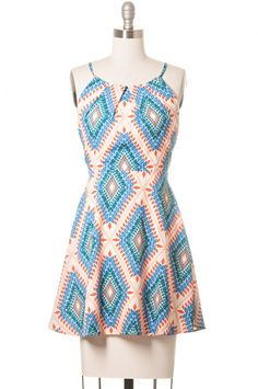 Enjoy many summer afternoons with this lovely pink and blue dress. The sleeveless design features adjustable straps and a back zipper, the style is fully lined and the fabric and soft and lightweight making it the perfect companion to your summer adventures