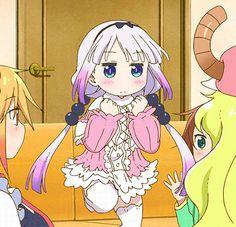 kobayashi-san chi no maid dragon, Kanna, Tohru, Elma y Riko Saikawa