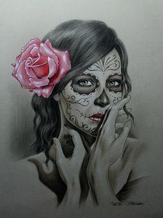 I'm Latina I've got this! Chicano Tattoos, Body Art Tattoos, Tattoo Drawings, Girl Tattoos, Sketch Tattoo, Gangster Tattoos, Skull Girl Tattoo, Sugar Skull Tattoos, Spanish Tattoo