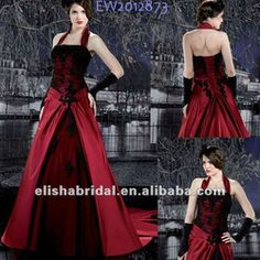 Elegant A-line Ruffle Halter Wrap Skirt Lace Satin Red And Black Wedding Dresses
