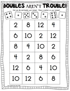 double trouble: math game to practice doubles facts - Mathe Ideen 2020 Math Doubles, Doubles Facts, Doubles Song, Math Classroom, Kindergarten Math, Teaching Math, Preschool, Daily 3 Math, Daily 5