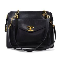 Authentic Chanel tote in black leather. Outside has small flap pocket with  CC twist lock 4c659cc0836ed