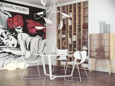 Pop-art-comic-book-inspired-wall-mural-in-the-dining-area