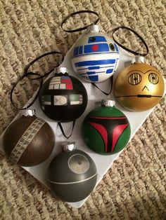 Star Wars R2D2 C3PO Darth Vader Boba Fett Chewbacca Death Star Hand Painted Glass Ornament Set of 6