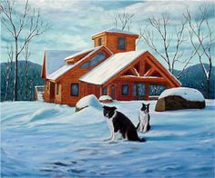 "Border Collies, Sammy and Breagh, on a snowy day at ""Brooks Mountain Home"" - an original painting by North Carolina artist, Fran Brooks. www.artistnannie.com"