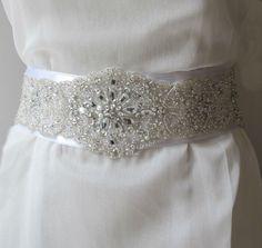 Beaded Bridal Wedding Sash Belt 7 cm with ... | Bridal Belts, sashes