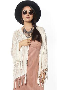 White Magic Medallion Velvet Burnout Tassel Kimono - Saltwater Gypsy #saltwatergypsy #kimono