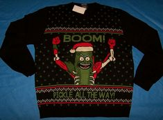 Best mens ugly christmas sweater, New Size XL Mens Ugly Christmas Sweater Rick Morty Boom Pickle Rick. Rick And Morty Hoodie, Christmas Pickle, Mens Ugly Christmas Sweater, Being Ugly, Pickles, Swim, Swimming, Pickle, Pickling