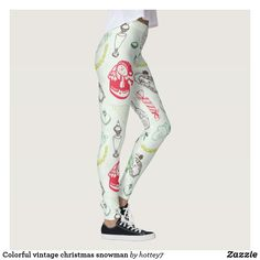 Discover Xmas leggings at Zazzle! Workout Leggings, Women's Leggings, Christmas Leggings, Christmas Snowman, Vintage Colors, Look Cool, Dressmaking, Vintage Christmas, Things That Bounce
