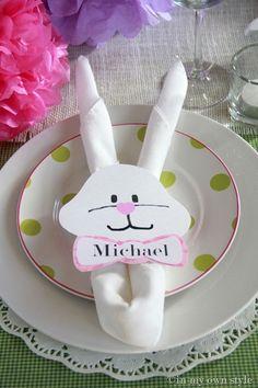 Napkin Fold Bunny Ears ~ with bunny face napkin rings... so cute! by bridgette.jons