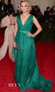 Diana Agron in Carolina Herrera at the Met Gala 2012.  ---- I really love  a dress with V-cut neckline :)