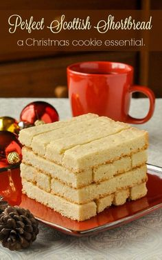 Scottish Shortbread - 4 ingredients to traditional perfection. Scottish Shortbread - With only 4 ingredients these buttery Scottish shortbread cookies are one of the best examples of simple perfection. Maybe even more perfect with chocolate. Cookie Desserts, Just Desserts, Cookie Recipes, Delicious Desserts, Dessert Recipes, Cookie Cups, Dessert Ideas, Scottish Recipes, Irish Recipes