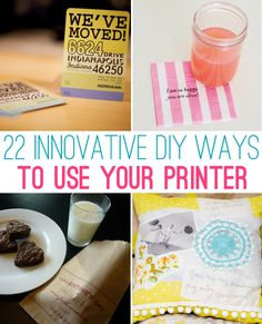 22 Innovative DIY Ways To Use Your Printer- tons of great ideas: printing on bags, napkins, burlap, transfers to fabric, wood, etc.