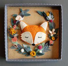 Cadre boite renard couronne de fleurs en relief 3d Plus