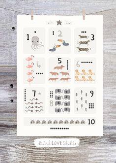 Number Print Educational Print Nursery Print Nursery Art