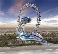 The Diamond Ring Hotel, Abu Dhabi - Something extremely beautiful. The rooms rotate! This is called Voyager or the Diamond Ring Hotel and will be built in Abu Dhabi Unusual Buildings, Amazing Buildings, Modern Buildings, Architecture Unique, Futuristic Architecture, Futuristic Design, Abu Dhabi, Hotels In Bangkok, Future Buildings