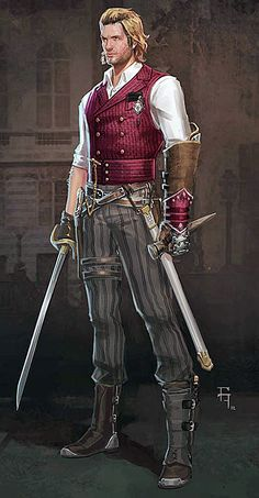 this stands out more as steampunk Regal pirate could dirty this look up a bit but the stripe pants and the vest id need to find i have the other Steampunk Pirate, Steampunk Men, Steampunk Costume, Steampunk Fashion, Steampunk Outfit Male, Steampunk Sword, Steampunk Characters, Dnd Characters, Fantasy Characters