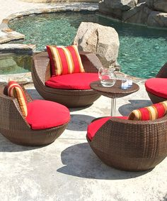 Espresso Five Piece Outdoor Seating Set