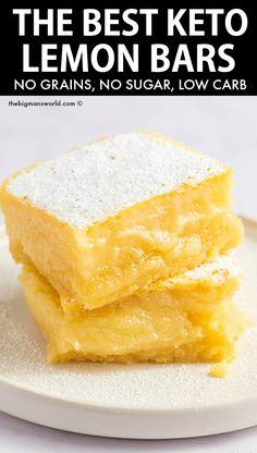 Low Carb Deserts, Low Carb Sweets, Sugar Free Desserts, Lemon Desserts, Diabetic Desserts Sugar Free Low Carb, Cake Boss, Sin Gluten, Sugar Free Lemon Bars, Galletas Keto
