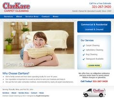 ClarKare Carpet Cleaning - responsive web design, html5, css3, slideshow, custom Google map