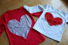 Heart applique t-shirt for Valentine's Day