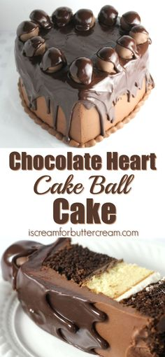 This rich chocolate cake is covered in chocolate buttercream, topped with chocolate covered cake balls, then covered in pourable ganache.