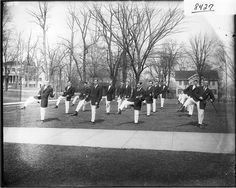 Maybe my great-grandpa is in this one?  Men doing Irish jig for Miami University gymnasium exhibition 1908. #miamiu