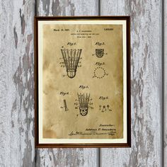 Badminton shuttle poster. Sport print printed on aged paper. Patent art print - handmade antique home decor. SIZE: 8.3 x 11.7 (A4) Paper for each print