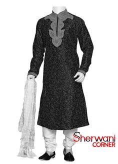 Black and Grey Groom Sherwani