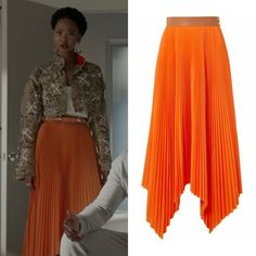 Monica Colby wears this brown leather-trimmed asymmetric pleated orange poplin Loewe miniskirt on Dynasty Elie Saab Gowns, Fendi Coat, Givenchy Boots, Gucci Hoodie, Girl God, Tweed Mini Skirt, Silk Charmeuse, Urban Outfitters Dress, Silk Crepe